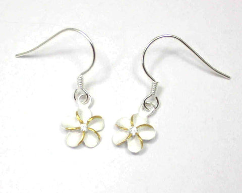 SILVER 925 HAWAIIAN PLUMERIA EARRINGS ON WIRE HOOK 2 TONE CZ 8MM (PE-20)