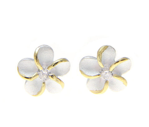 STERLING SILVER 925 HAWAIIAN PLUMERIA FLOWER STUD POST EARRINGS 6MM 2 TONE (PE-2)