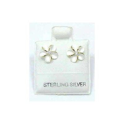 SILVER 925 HAWAIIAN PLUMERIA FLOWER EARRINGS 10MM 2T (PE-31)
