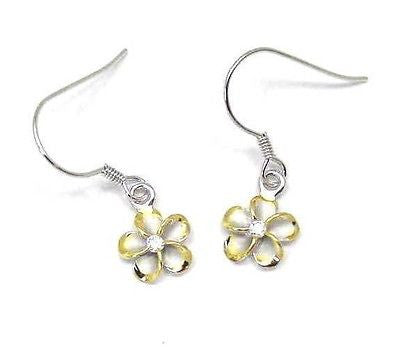 8MM SILVER 925 HAWAIIAN PLUMERIA ON WIRE RHODIUM YG (PE-38)