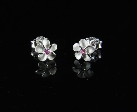 STERLING SILVER 925 HAWAIIAN PLUMERIA FLOWER POST STUD EARRINGS 6MM PINK CZ (PE-3)