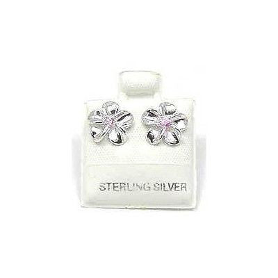SILVER 925 SHINY HAWAIIAN PLUMERIA EARRING PINK CZ 10MM (PE-40)