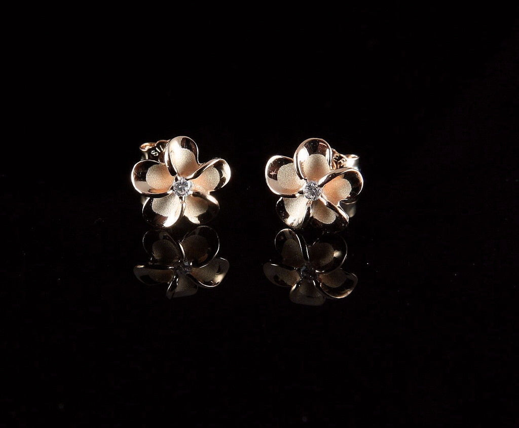 Rose Gold Plated Silver Plumeria Flower Earrings 8mm The Turtle