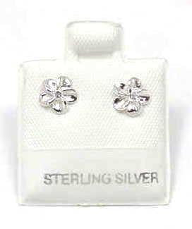 SILVER 925 SHINY HAWAIIAN PLUMERIA EARRINGS CZ 6MM (PE-4)
