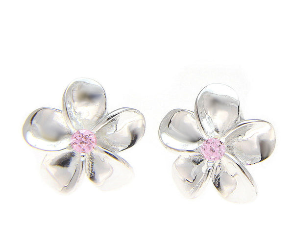 STERLING SILVER 925 SHINY HAWAIIAN PLUMERIA FLOWER POST EARRING PINK CZ 15MM (PE-15)