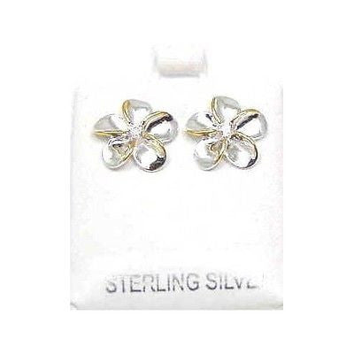 SILVER 925 SHINY HAWAIIAN PLUMERIA EARRINGS CZ 15MM 2T (PE-59)