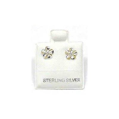 SILVER 925 SHINY HAWAIIAN PLUMERIA EARRINGS CZ 6MM 2T (PE-5)