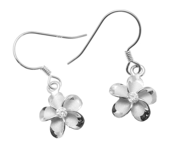 10MM STERLING SILVER 925 HAWAIIAN PLUMERIA FLOWER WIRE HOOK RHODIUM EARRINGS (PE-63)
