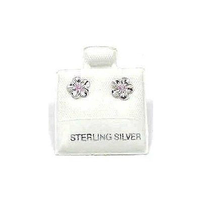 SILVER 925 SHINY HAWAIIAN PLUMERIA EARRING PINK CZ 6MM (PE-6)