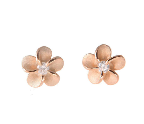 ROSE GOLD ON STERLING SILVER 925 HAWAIIAN PLUMERIA FLOWER STUD EARRINGS CZ 6MM (PE-7)
