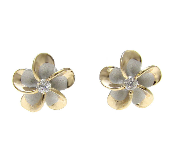 STERLING SILVER 925 HAWAIIAN 10MM PLUMERIA POST EARRINGS RHODIUM YELLOW GOLD 2T (PE-80)