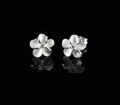 STERLING SILVER 925 HAWAIIAN PLUMERIA FLOWER STUD POST EARRINGS 8MM (PE-8)