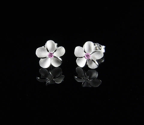SILVER 925 HAWAIIAN PLUMERIA FLOWER POST STUD EARRINGS 8MM PINK CZ (PE-9)