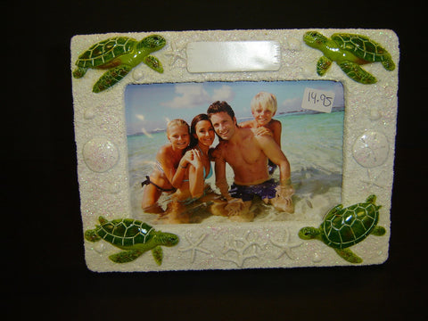 Brand New Turtle White Sand Resin 4 X 6 Picture Frame (PF-1)