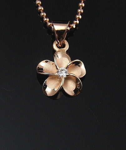 PINK ROSE SILVER 925 HAWAIIAN PLUMERIA FLOWER PENDANT CZ 10MM (PP-10)