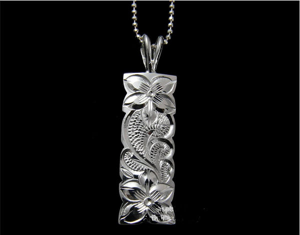 STERLING SILVER 925 HAWAIIAN PLUMERIA FLOWER QUEEN SCROLL VERTICAL PENDANT 10MM (PP-111)