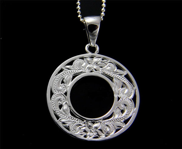 STERLING SILVER 925 HAWAIIAN CUT OUT PLUMERIA FLOWER SCROLL CIRCLE PENDANT (PP-128)