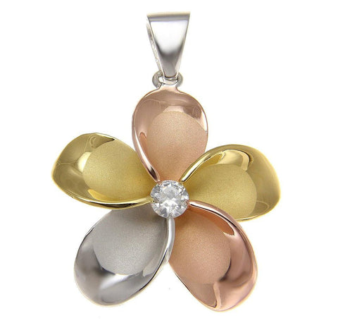 YELLOW ROSE GOLD SILVER 925 TRICOLOR HAWAIIAN PLUMERIA PENDANT CZ 10MM - 30MM (PP-12)