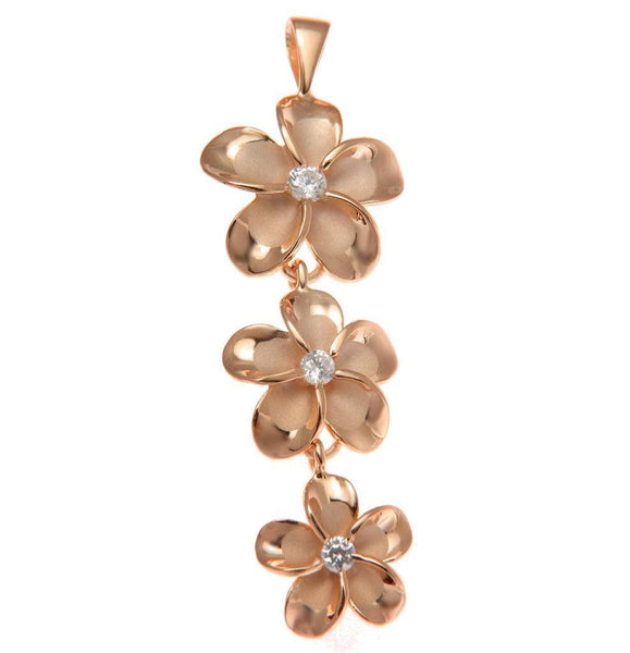 ROSE GOLD PLATED STERLING SILVER 925 HAWAIIAN 3 PLUMERIA FLOWER DANGLE PENDANT (PP-155)