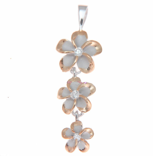 STERLING SILVER 925 HAWAIIAN 3 PLUMERIA FLOWER DANGLE PENDANT RHODIUM PINK ROSE (PP-170)