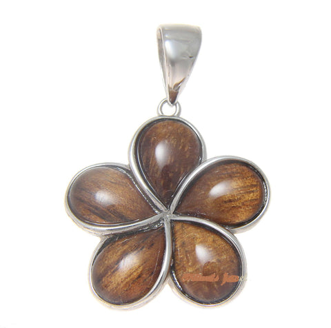 GENUINE INLAY HAWAIIAN KOA WOOD PLUMERIA FLOWER PENDANT 925 SILVER 15MM -25MM (PP-173)