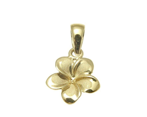 9MM SOLID 14K YELLOW GOLD HAWAIIAN FANCY TROPICAL PLUMERIA FLOWER CHARM PENDANT (PP-176)