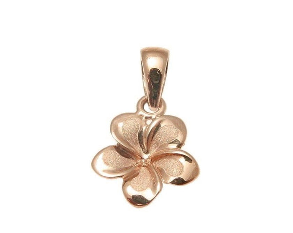 9MM SOLID 14K PINK/ROSE GOLD HAWAIIAN FANCY PLUMERIA FLOWER CHARM PENDANT (PP-177)