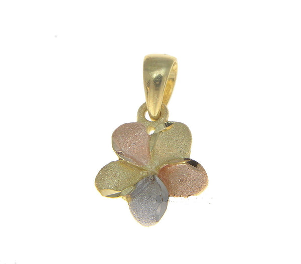 9MM 14K SOLID PINK WHITE YELLOW TRICOLOR GOLD HAWAIIAN PLUMERIA FLOWER PENDANT (PP-179)