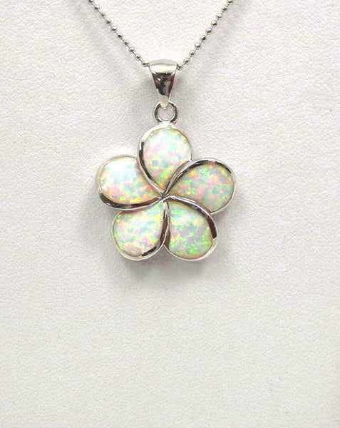 INLAY OPAL 24MM HAWAIIAN PLUMERIA FLOWER PENDANT SILVER (PP-187)
