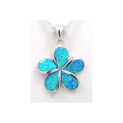 INLAY OPAL 30MM HAWAIIAN PLUMERIA FLOWER PENDANT STERLING SILVER 925 (PP-189)