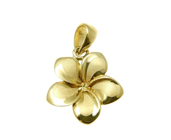 13MM SOLID 14K YELLOW GOLD HAWAIIAN FANCY TROPICAL PLUMERIA FLOWER PENDANT (PP-192)