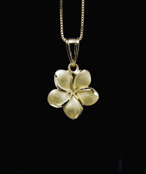13MM SOLID 14K YELLOW GOLD HAWAIIAN PLUMERIA FLOWER PENDANT CHARM (PP-194)