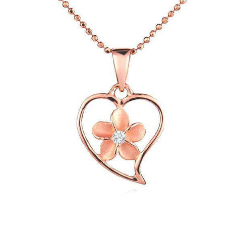 13.5MM ROSE GOLD PLATED SILVER 925 HAWAIIAN PLUMERIA OPEN HEART PENDANT CZ (PP-21)