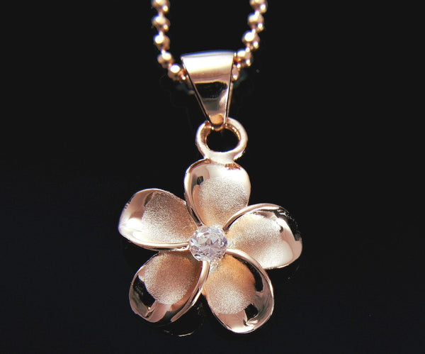 PINK ROSE SILVER 925 HAWAIIAN PLUMERIA FLOWER PENDANT CZ 15MM (PP-31)