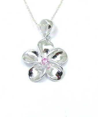 STERLING SILVER 925 SHINY HAWAIIAN PLUMERIA FLOWER PENDANT PINK CZ 20MM (PP-43)
