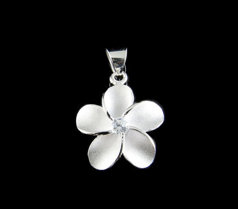 STERLING SILVER 925 HAWAIIAN SINGLE PLUMERIA FLOWER PENDANT CHARM WHITE CZ 12MM (PP-4)