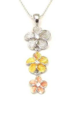 SILVER TRICOLOR 3 HAWAIIAN PLUMERIA DANGLE PENDANT MEDIUM (PP-55)