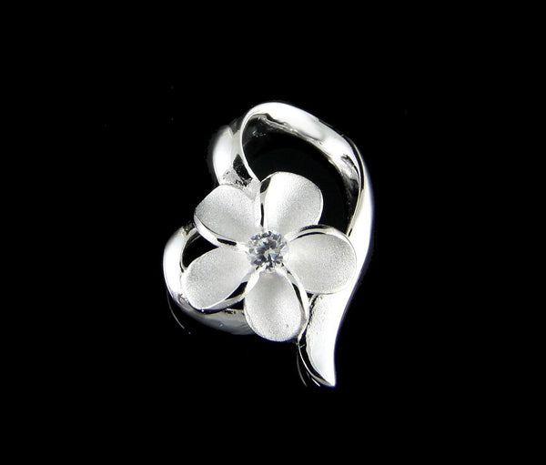 STERLING SILVER 925 HAWAIIAN PLUMERIA FLOWER SHINY FLOATING HEART PENDANT CZ (PP-56)