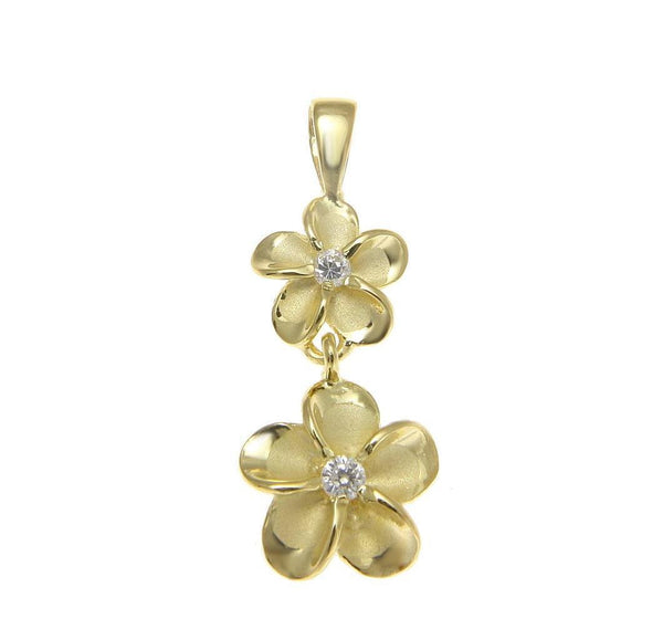 YELLOW GOLD STERLING SILVER 925 HAWAIIAN 8MM DANGLE 10MM PLUMERIA FLOWER PENDANT (PP-59)