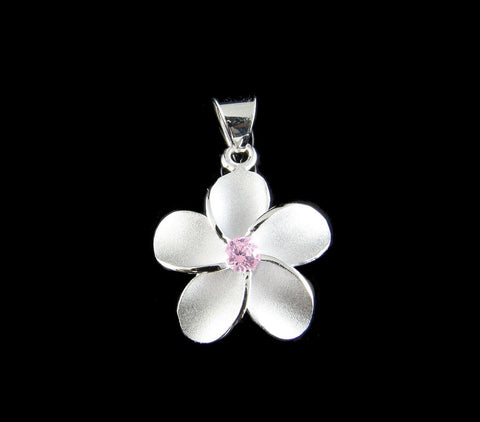STERLING SILVER 925 HAWAIIAN SINGLE PLUMERIA FLOWER PENDANT CHARM PINK CZ 12MM (PP-5)