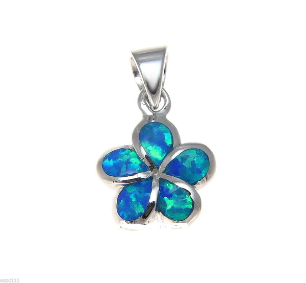 INLAY OPAL 925 STERLING SILVER 12MM HAWAIIAN PLUMERIA FLOWER PENDANT (PP-66)