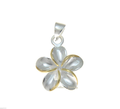 STERLING SILVER 925 SHINY HAWAIIAN 12MM 2T YELLOW PLUMERIA FLOWER PENDANT CZ (PP-6)