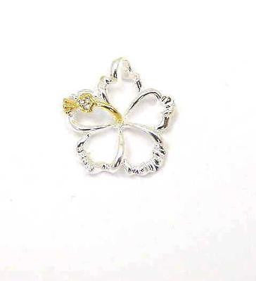 YELLOW SILVER 925 HAWAIIAN OPEN FLOATING HIBISCUS FLOWER PENDANT 20MM (PP-71)