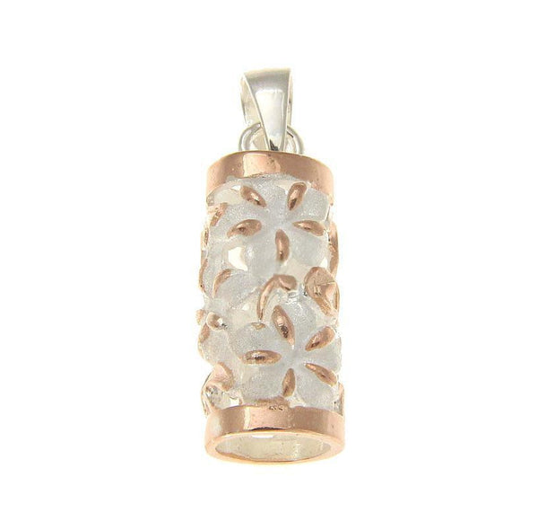 ROSE GOLD PLATED SILVER 925 HAWAIIAN PLUMERIA FLOWER VERTICAL TUBE PENDANT (PP-76)