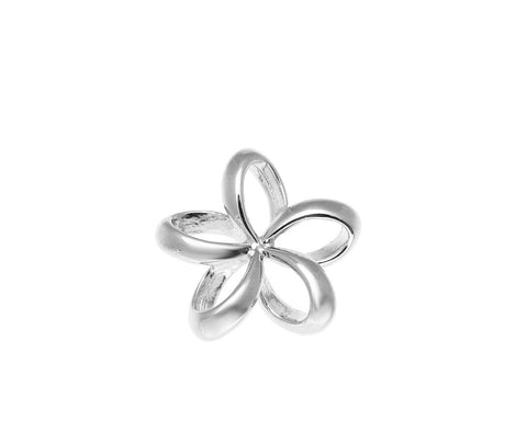 13MM STERLING SILVER 925 HAWAIIAN OPEN FLOATING OUTLINE PLUMERIA FLOWER PENDANT (PP-7)