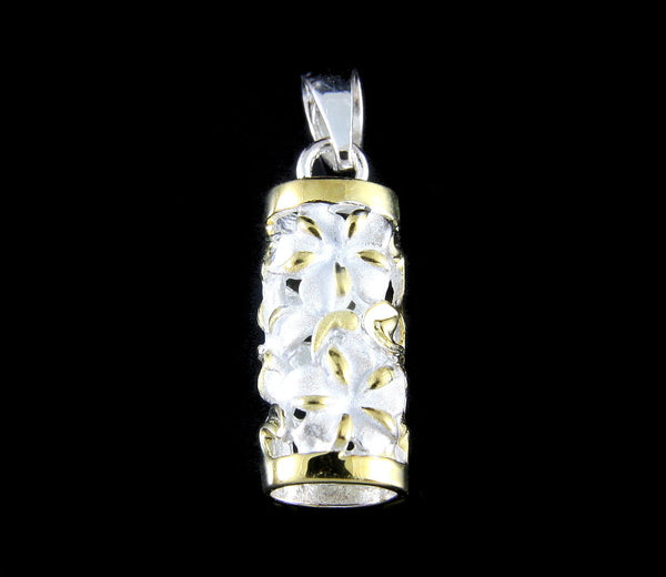 925 STERLING SILVER 2 TONE YELLOW HAWAIIAN PLUMERIA FLOWER VERTICAL TUBE PENDANT (PP-80)