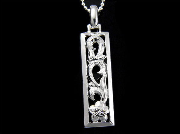 STERLING SILVER 925 HAWAIIAN PLUMERIA FLOWER SCROLL CUT OUT VERTICAL PENDANT (PP-81)