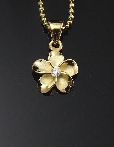 YELLOW GOLD PLATED SILVER 925 HAWAIIAN PLUMERIA FLOWER PENDANT CZ 10MM (PP-9)