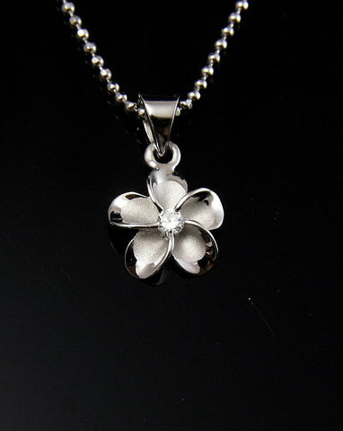 STERLING SILVER 925 HAWAIIAN FANCY PLUMERIA FLOWER PENDANT RHODIUM SMALL 10MM (PP-8)