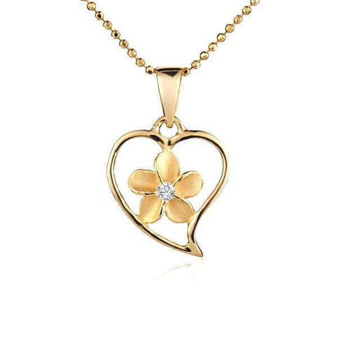 13.5MM YELLOW GOLD PLATED SILVER 925 HAWAIIAN PLUMERIA OPEN HEART PENDANT CZ (PP-20)
